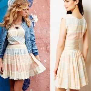 ANTHROPOLOGIE Paper Crown pastel striped  dress